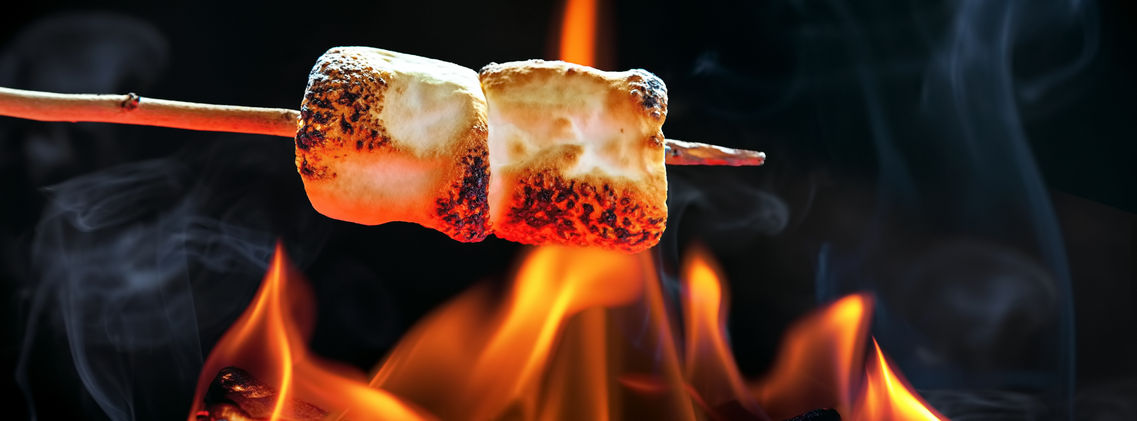 roasting marshmellows over outdoor fire pit