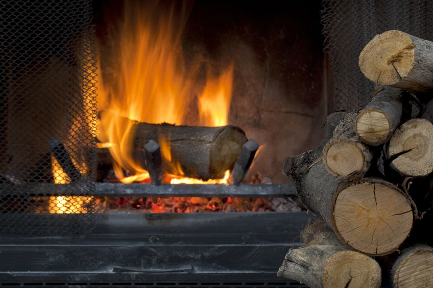 wood burnng fireplace